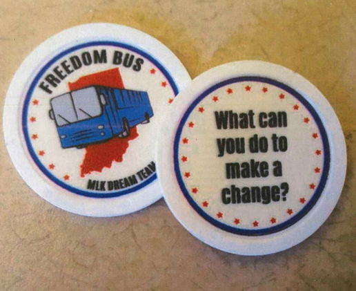 The Freedom Bus encourages change with challenge tokens