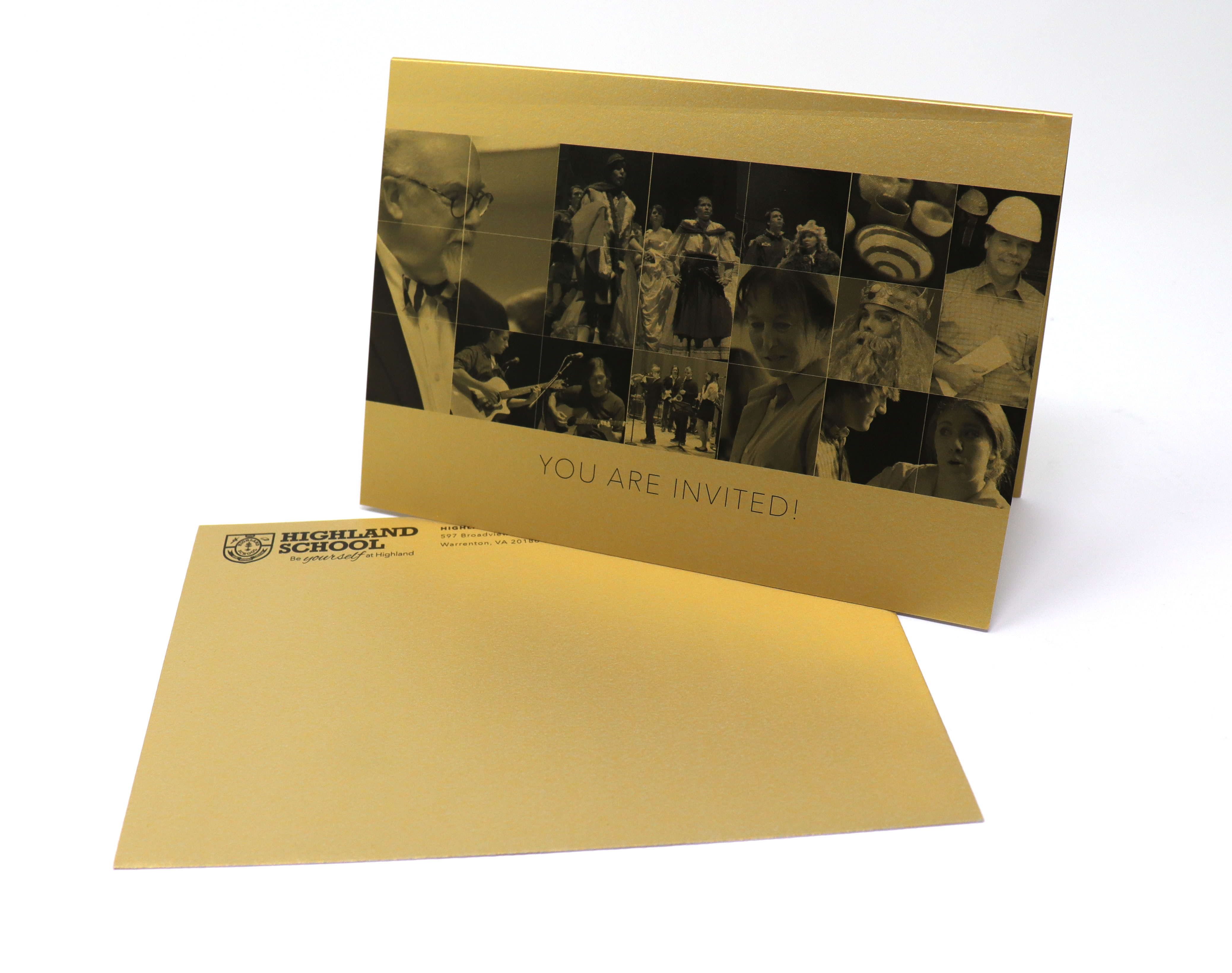 Invite and Envelope on Gold Stock