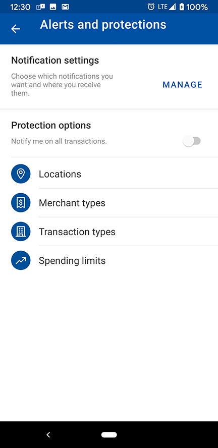Manage Alerts & Protections in Mobile Banking Debit Card Controls