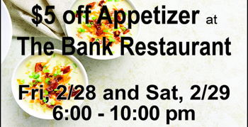 Image for $5 off an Appetizer at The Bank Restaurant