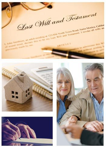 collage of older couple working on estate planning