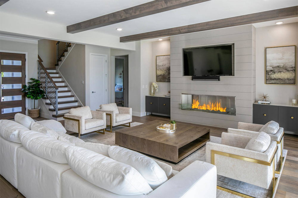 luxury livingroom with stars and fireplace